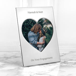 Personalised Heart Shaped Silver Plated Photo Frame