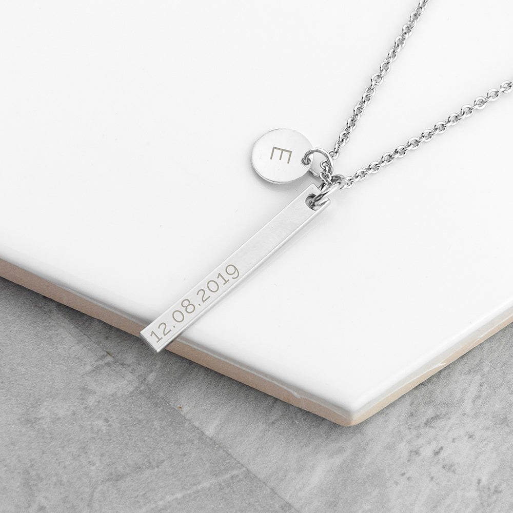Personalised Bar & Disc Silver Plated Necklace