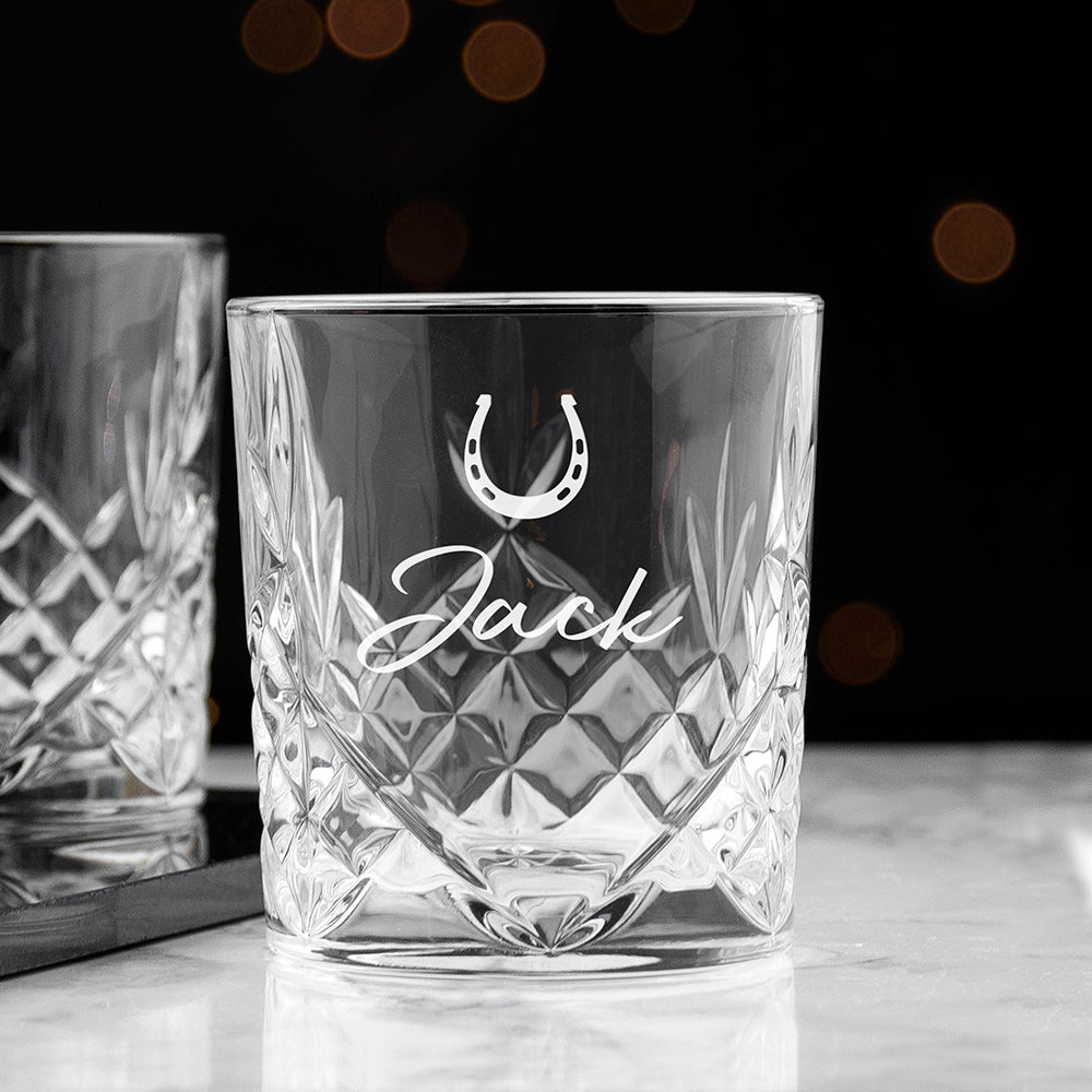 Personalised Horseshoe Design Crystal Tumbler