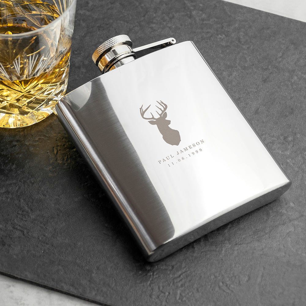 Personalised Stag Design 6oz Hip Flask