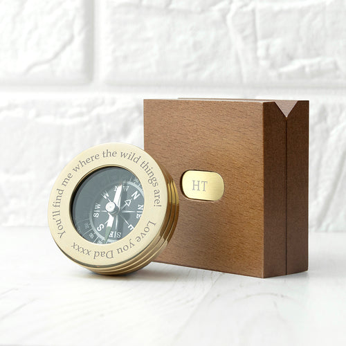 Personalised Brass Compass With Wooden Box
