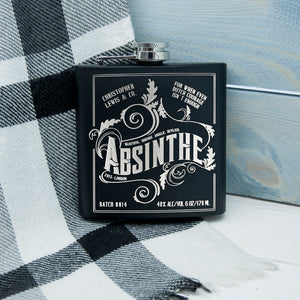 Personalised Absinthe Vintage Inspired Black Hip Flask