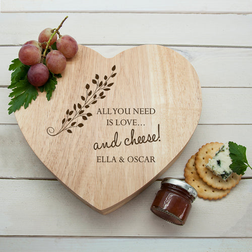 Personalised All You Need Is Love And Cheese Heart Shaped Cheese Board Set