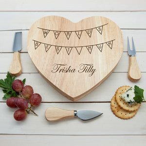 Personalised World's Best Mum Bunting Heart Shaped Cheese Board Set