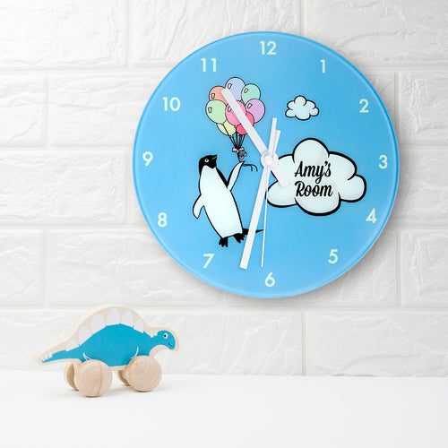 Personalised Penguin Glass Wall Clock