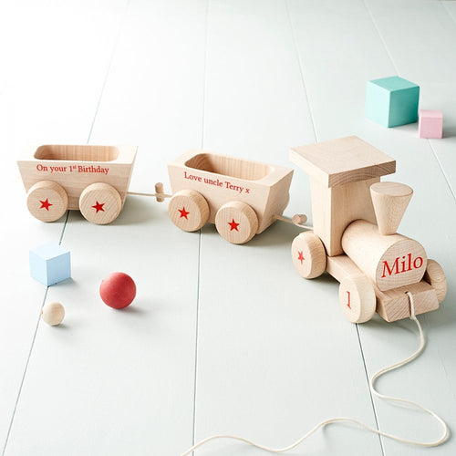 Personalised 1st Birthday Wooden Train With Carriages