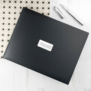 Personalised Black Leather Visitor's Book