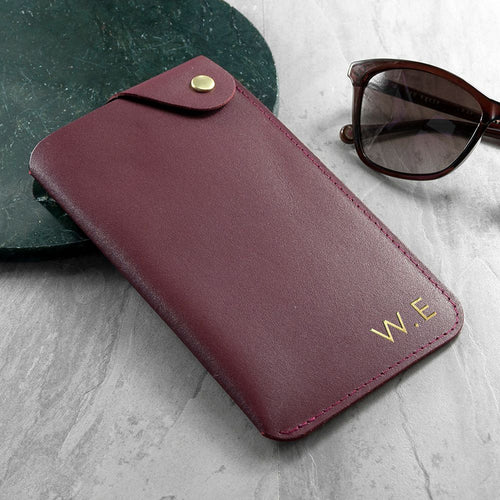 Personalised Burgundy Leather Glasses Case