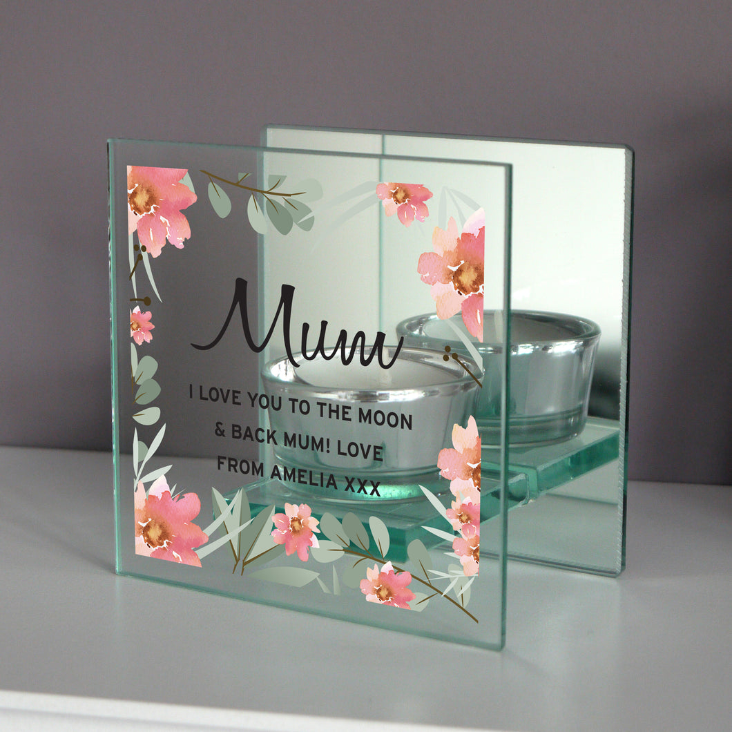 Personalised Mum Mirrored Glass Tealight Candle Holder