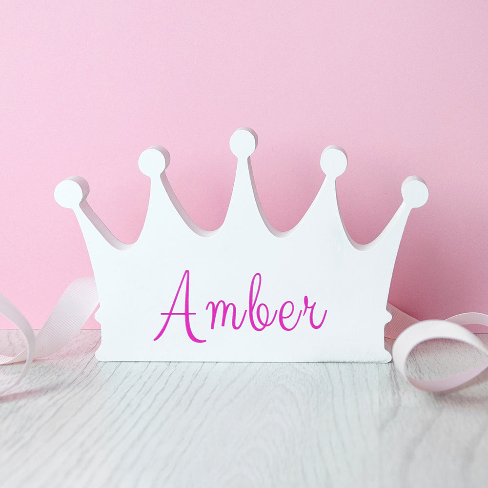 Personalised Wooden Crown Shelf Decoration