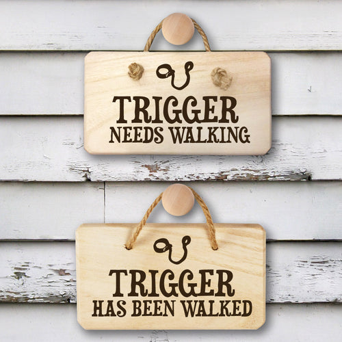 Personalised Dog Needs Walking Double Sided Hanging Wooden Sign