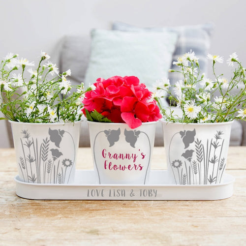 Personalised Flower Tray & Pots