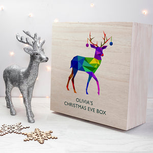 Personalised Geometric Reindeer Wooden Christmas Eve Box