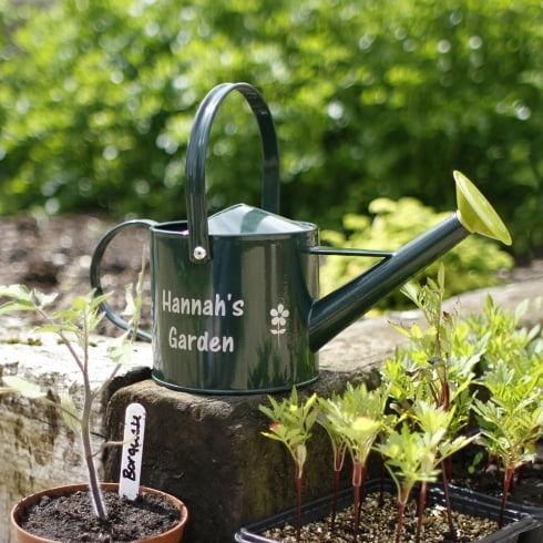 Personalised Green Watering Can