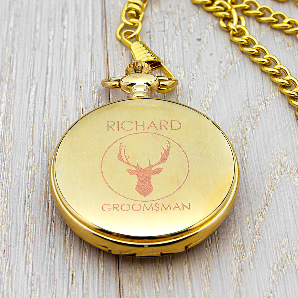 Personalised Stag Design Groomsman Pocket Watch