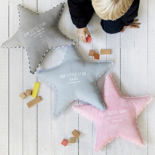 Personalised Our Little Star Handmade Star Cushion