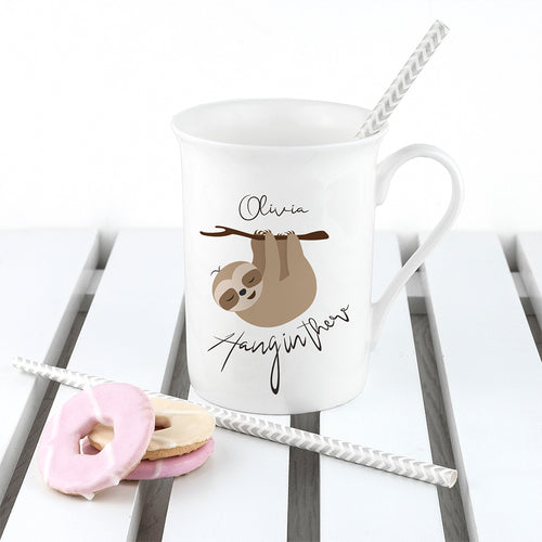 Personalised Hang In There Sloth Design Bone China Mug
