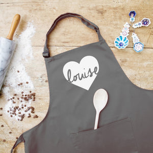 Personalised Heart Design Apron In Choice Of Colours