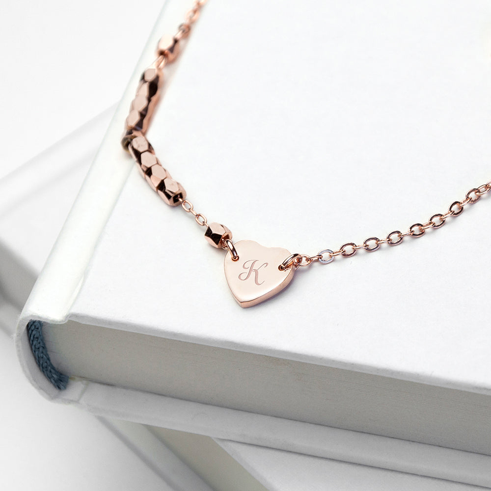 Personalised Heart Charm Rose Gold Plated Bracelet