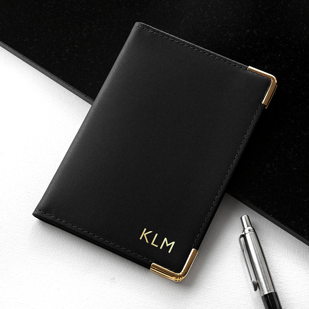 Personalised Black Leather Passport Cover