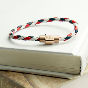 Personalised Women's Red White & Blue Woven Leather Bracelet