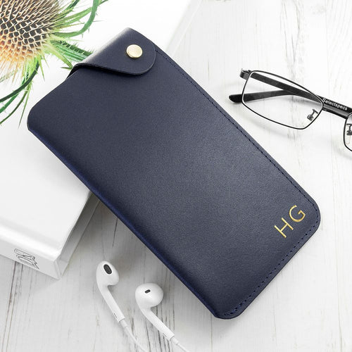 Personalised Navy Leather Glasses Case