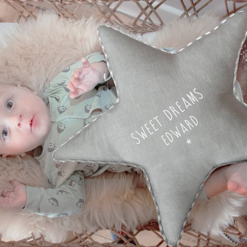 Personalised Grey Star Cushion