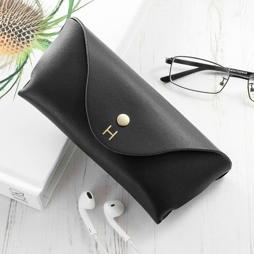 Personalised Black Leather Glasses Case
