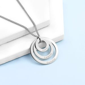 Personalised Circles Of Love Silver Plated Necklace