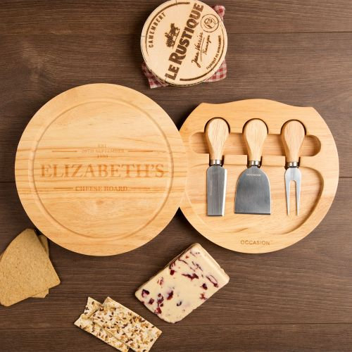 Personalised Round Cheeseboard Set