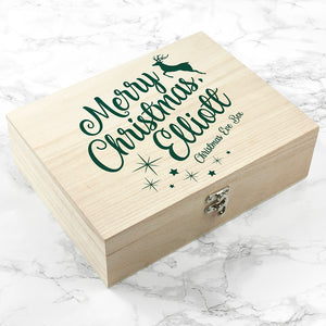 Personalised Merry Christmas Reindeer Design Christmas Eve Box