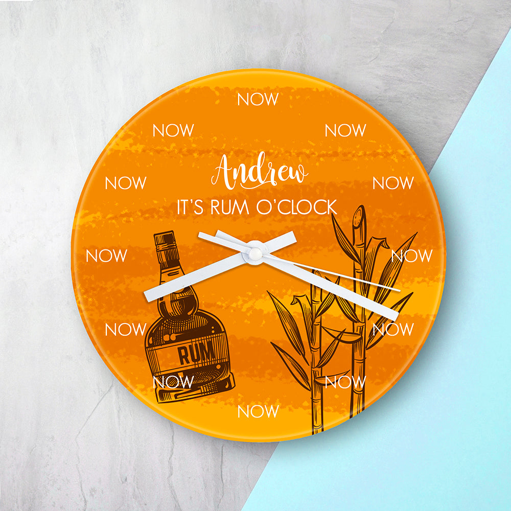 Personalised It's Rum O'Clock Glass Wall Clock