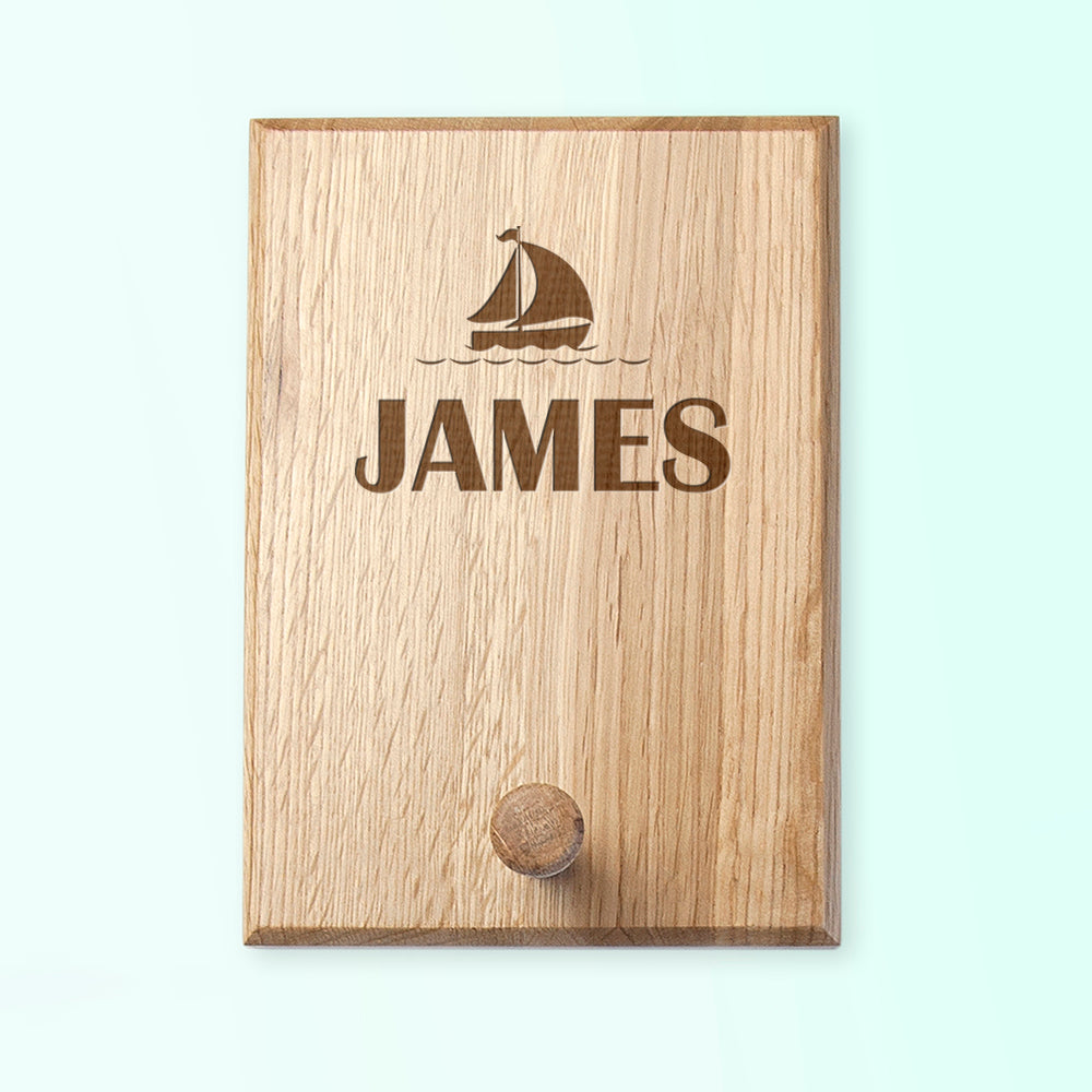 Personalised Boat Design Wooden Coat Hook