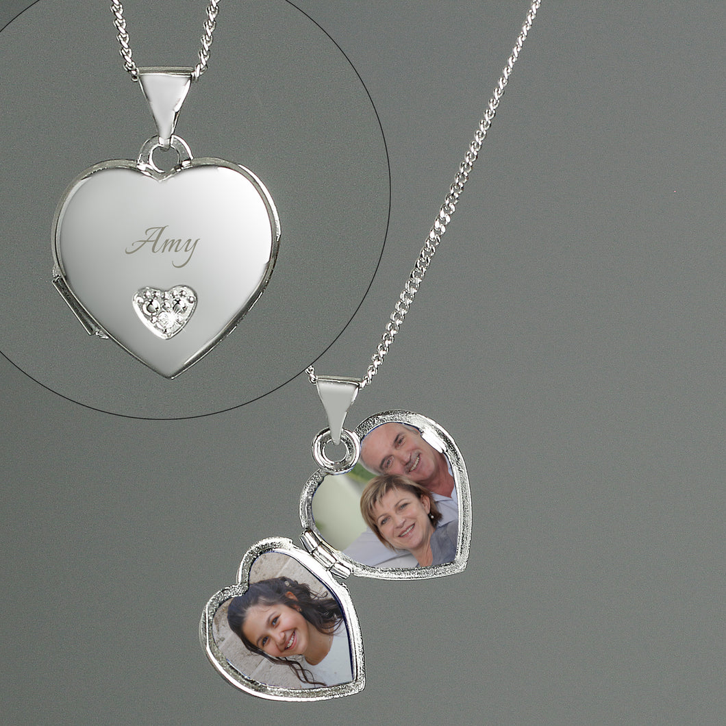 Personalised Sterling Silver Child's Heart Shaped Locket Necklace