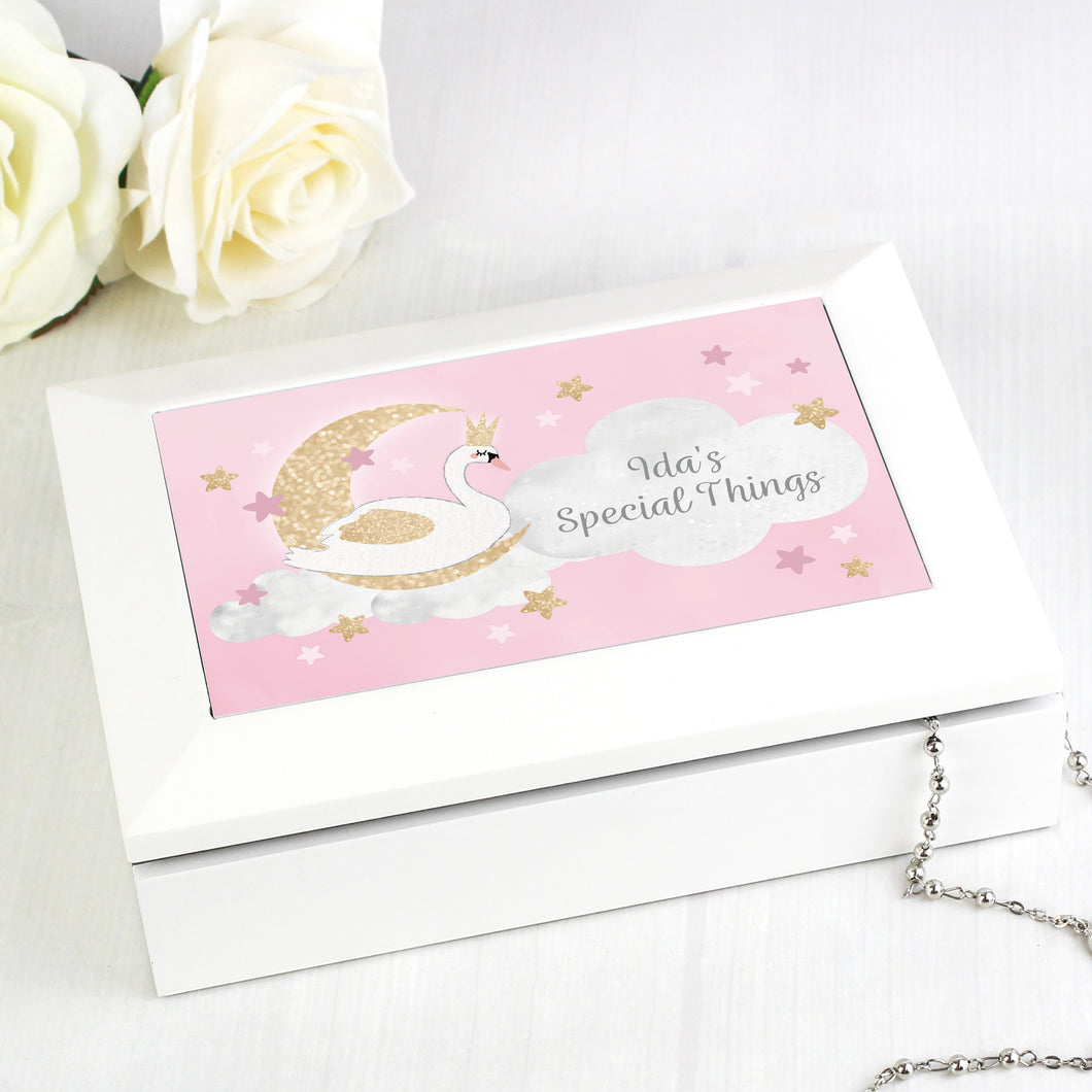 Personalised Swan Lake Design Children's Wooden Jewellery Box
