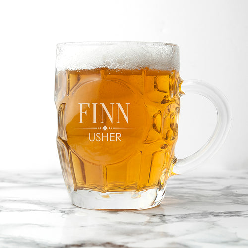 Personalised Usher Traditional Dimple Beer Glass