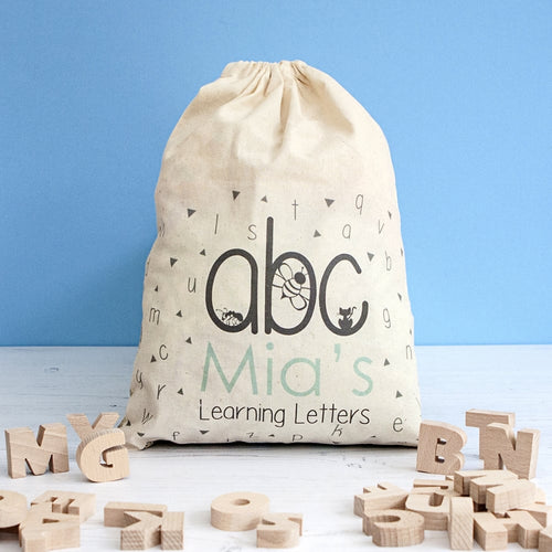 Wooden Alphabet In Personalised Drawstring Bag