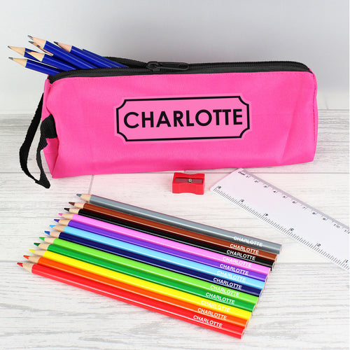 Personalised Pink Pencil Case With Personalised Pencils
