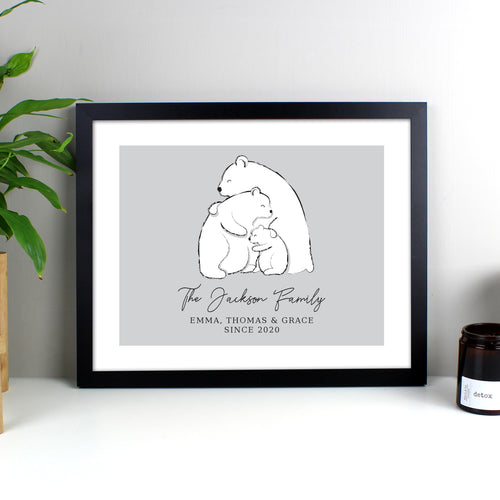 Personalised Polar Bear Family Framed Print