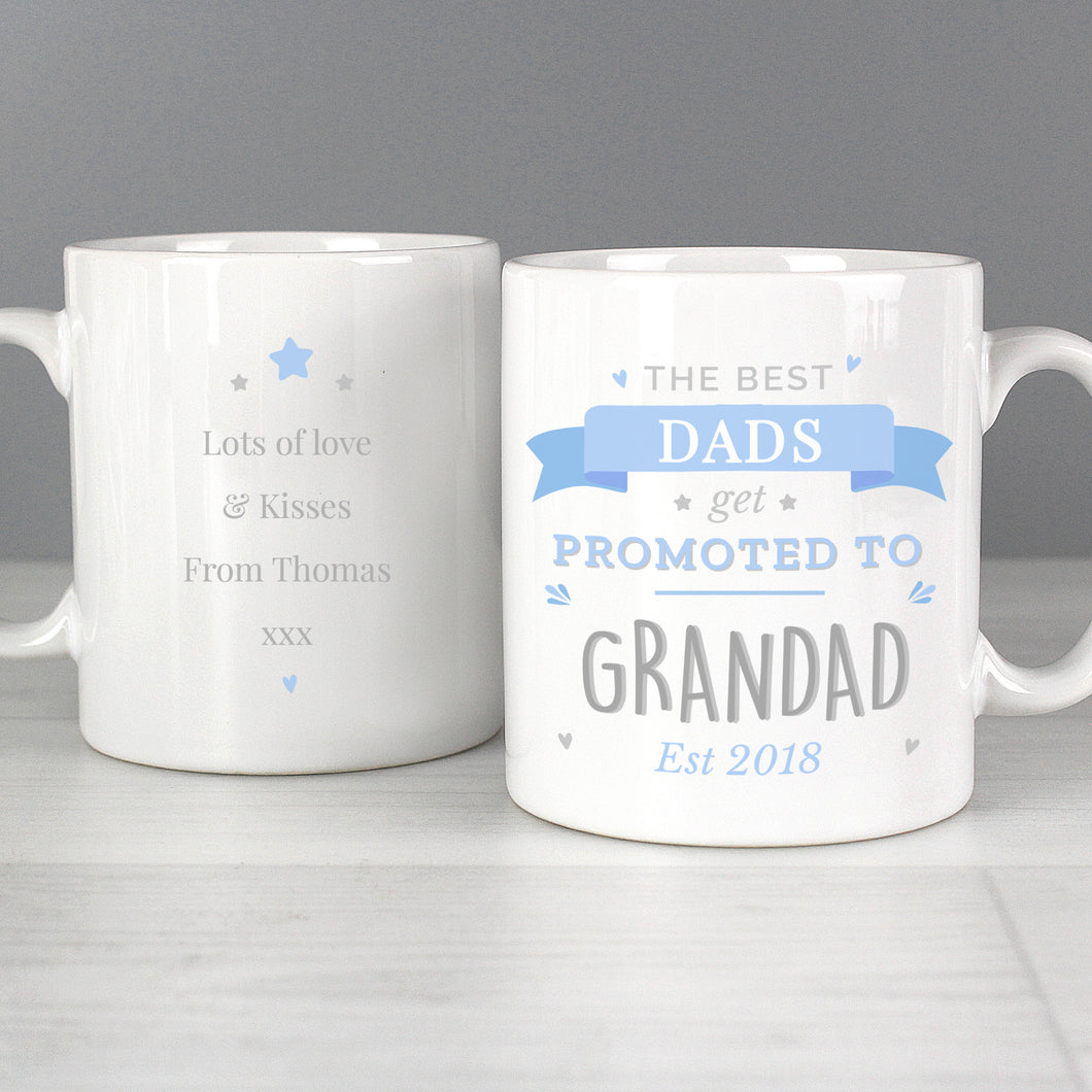 Personalised Promoted To Grandad Mug