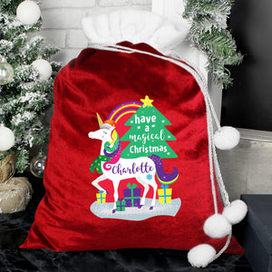 Personalised Rainbow Unicorn Luxury Christmas Gift Sack