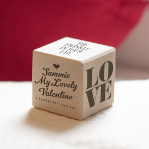 Personalised Reasons Why I Love You Wooden Keepsake Dice