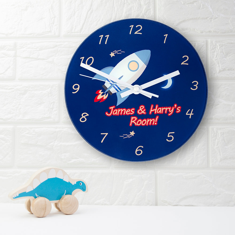 Personalised Space Rocket Glass Wall Clock