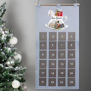 Personalised Rocking Horse Design Silver & Grey Felt Advent Calendar
