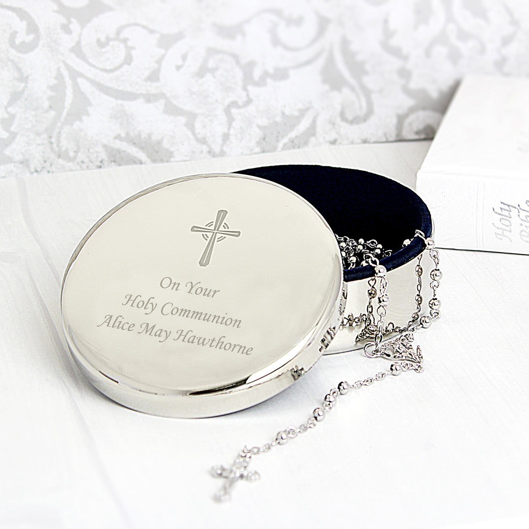 Rosary Beads and Cross In Round Personalised Trinket Box