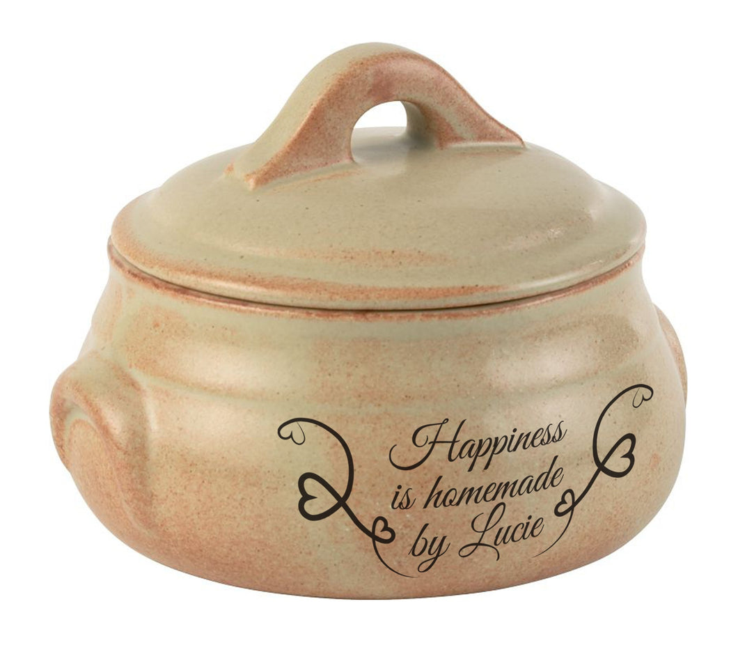 Happiness Is... Personalised Rustico Round Casserole Dish With Lid