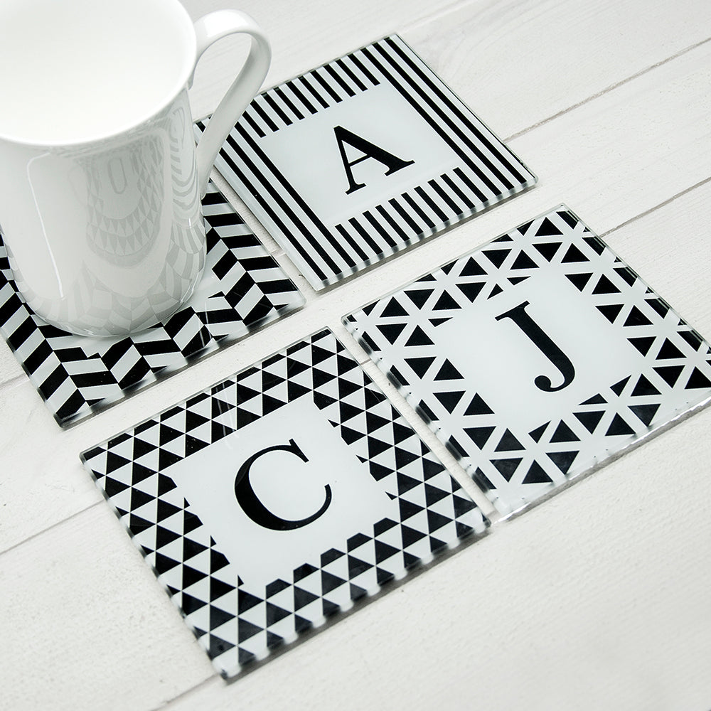 Personalised Black & White Glass Coasters - Set Of 4