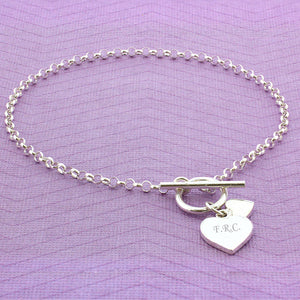 Personalised T-Bar Heart Charm Stirling Silver Bracelet