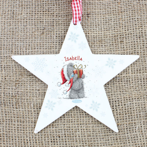 Personalised Me to You Christmas Wooden Star Decoration