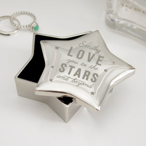 Personalised Love You To The Stars & Beyond Star Trinket Box
